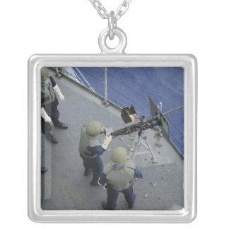A US Sailor fires a 50-caliber M2HB Square Pendant Necklace