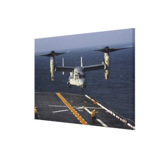 A V-22 Osprey aircraft prepares to land Canvas Print