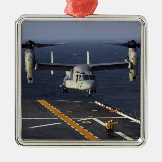 A V-22 Osprey aircraft prepares to land Metal Ornament