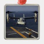 A V-22 Osprey aircraft prepares to land Square Metal Christmas Ornament