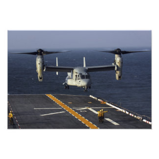 A V-22 Osprey aircraft prepares to land Photo Print