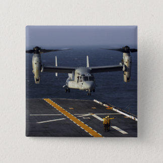 A V-22 Osprey aircraft prepares to land Pinback Button