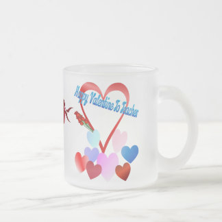 A Valentine For Teacher Frosted Glass Coffee Mug