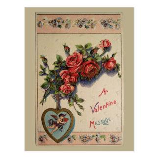 A Valentine Message Vintage Postcard