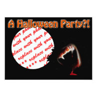 A Vampire's Kiss of Death Halloween Photo Frame 5x7 Paper Invitation Card