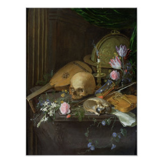 A Vanitas Still Life with a Nautilus and a Lute Poster