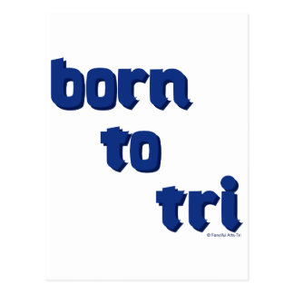 """A variety of products with the """"born to tri"""" logo postcard"""