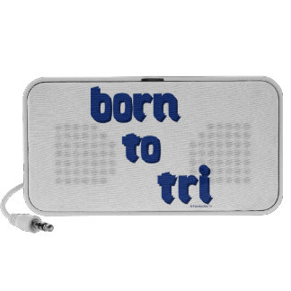 """A variety of products with the """"born to tri"""" logo mini speakers"""