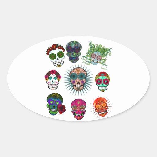 A Variety of Sugar Skulls Oval Sticker