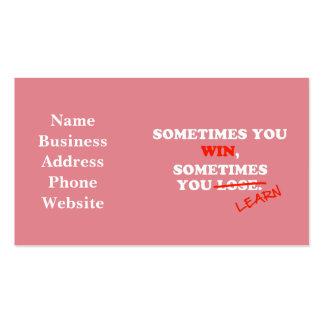 A veces usted frase de motivación de la tipografía tarjetas de visita