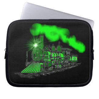 A Very Bright Neon Green Train Engine Computer Sleeve
