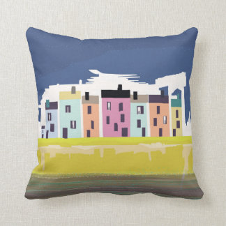 A Very British Seaside. Colourful beach houses Throw Pillow
