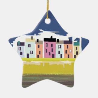 A Very British Seaside. Scenic color beach houses Ceramic Ornament