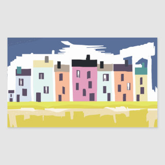 A Very British Seaside. Scenic color beach houses Rectangular Sticker