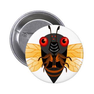 A very cute 17 year cicada pinback button