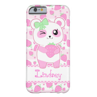 A very cute and kawaii pink panda holding a strawb barely there iPhone 6 case