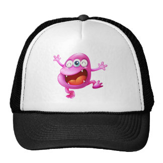 A very excited beanie monster trucker hat