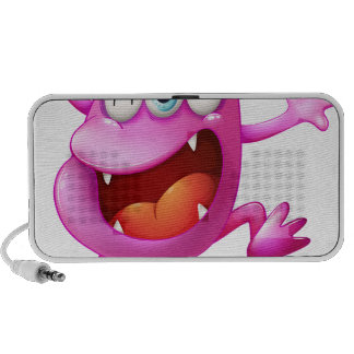 A very excited beanie monster laptop speakers