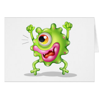 A very excited one-eyed monster greeting card