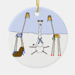 A Very Giraffe Christmas - Snowman Double-Sided Ceramic Round Christmas Ornament