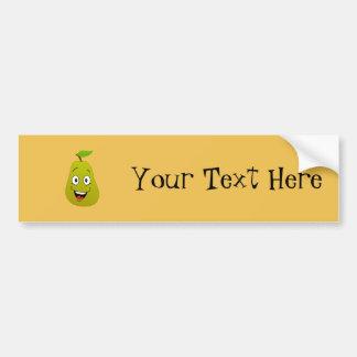 A very happy pear fruit bumper sticker