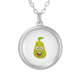 A very happy pear fruit round pendant necklace