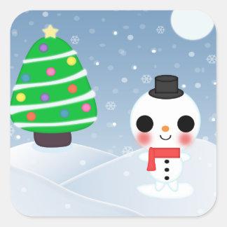 A Very Kawaii Christmas Square Sticker