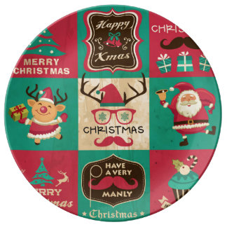 A Very Manly Christmas Moustache Collage Porcelain Plate