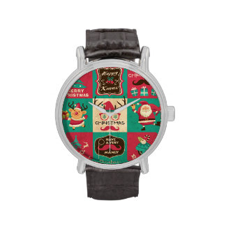 A Very Manly Christmas Moustache Collage Wristwatches