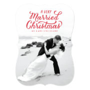 "A very Married Christmas Newlywed Photo Card 5"" X 7"" Invitation Card"