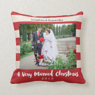 A Very Married Christmas, Photo Personalized Throw Pillow