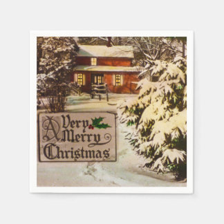A Very Merry Christmas Classic Traditional Winter Paper Napkin