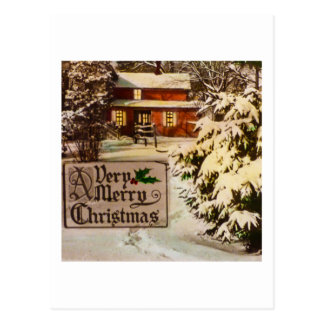 A Very Merry Christmas Classic Traditional Winter Postcard