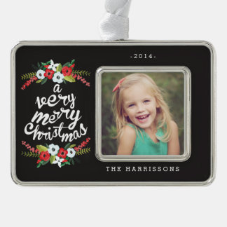 A Very Merry Christmas Floral Black Personalized Christmas Ornament