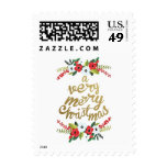 A Very Merry Christmas Floral Gold Postage