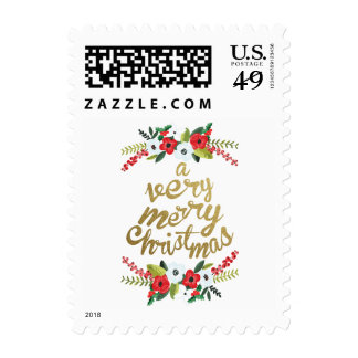 A Very Merry Christmas Floral Gold Stamps