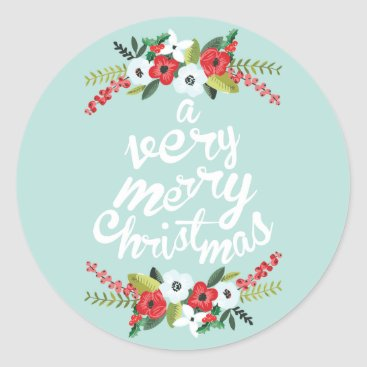 Christmas Themed A Very Merry Christmas Floral Mint Classic Round Sticker