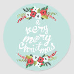 A Very Merry Christmas Floral Mint Stickers
