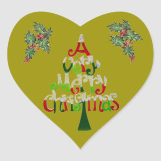 A Very Merry Christmas Gift Collection Heart Sticker