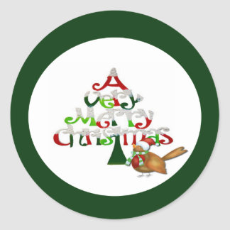 A Very Merry Christmas Holiday Classic Round Sticker