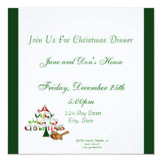A Very Merry Christmas Holiday 5.25x5.25 Square Paper Invitation Card