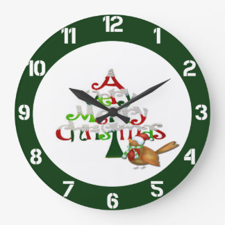 A Very Merry Christmas Large Clock