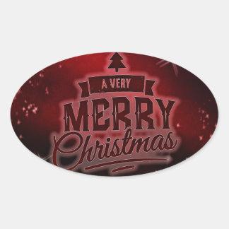 A Very Merry Christmas Oval Sticker