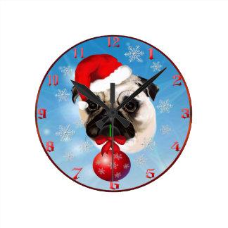 A Very Merry Christmas Pug Clock