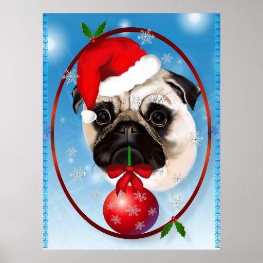 A Very Merry Christmas Pug Poster