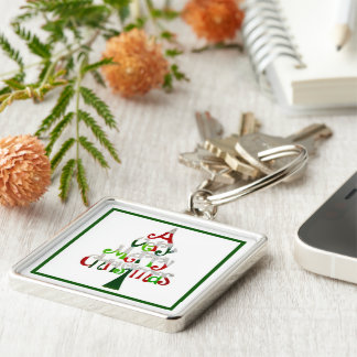 A Very Merry Christmas Silver-Colored Square Keychain