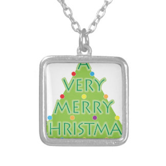 a very merry christmas silver plated necklace