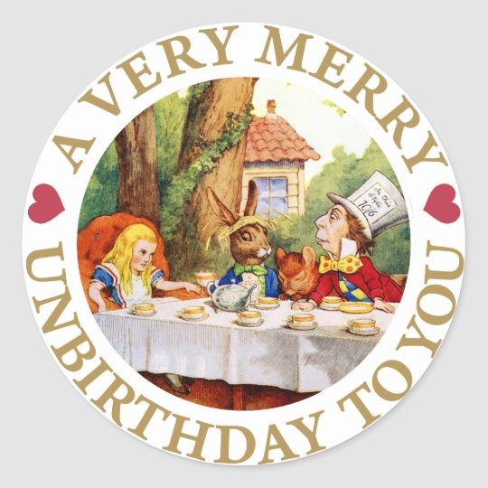 A VERY MERRY UNBIRTHDAY TO YOU! CLASSIC ROUND STICKER