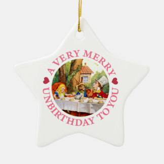 A Very Merry Unbirthday To You! Double-Sided Star Ceramic Christmas Ornament