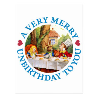 A VERY MERRY UNBIRTHDAY TO YOU POSTCARD
